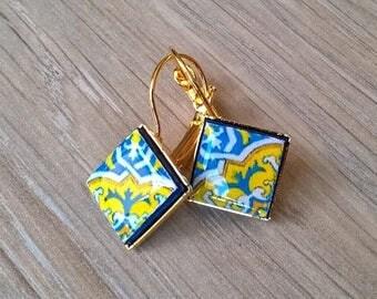 20% OFF SUMMER SALE Portugal azulejo earrings, Portuguese tiles, Portugal, azulejo earrings, azulejo jewelry, tile earrings, tile jewelry, P