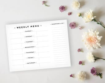 Menu Planner - Simple, Art Deco Black and Gold Menu Planner Sheet - Grocery List Sheet