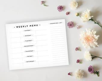 Menu Planner - Simple, Art Deco Black and Gold Menu Planner Sheet - Grocery List Sheet