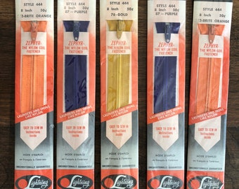 Lot of 5 Lightning Zippers, 8 inch, Assorted Colours, Vintage