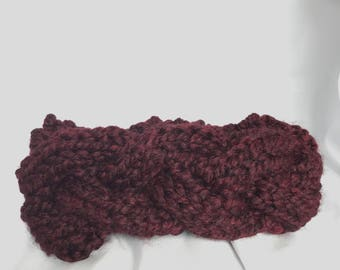 Chunky Knit Braided Headband Ear Warmer - Maroon