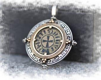 Ancient CRUSADERS, Latin Kingdom of Jerusalem Coin Pendant Necklace Silver Necklace Gold Necklace