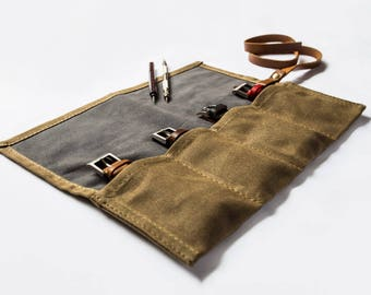 Canvas Watch Roll, Handmade with suede leather pockets