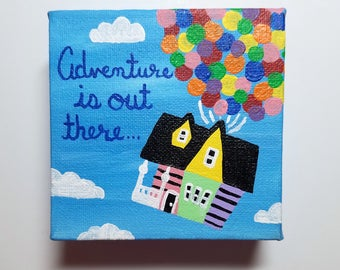 Adventure is Out There Up Inspirational Mini Canvas, Nursery Decor, Desk Decor, Motivational Wall Art