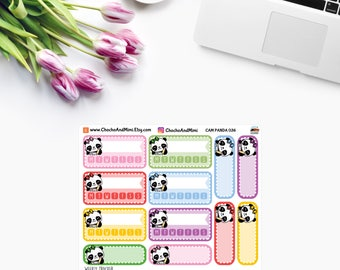 Amanda The Panda ~ WEEKLY TRACKER ~ Time Planner Stickers CAM Panda 036