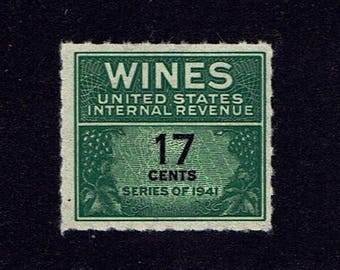 US RE186 Wine Revenue Stamp 17c Imprinted Series of 1941 Issued Without Gum MNH lot #usRE186-1