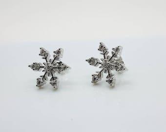Snowflake Sterling Silver Womens Earrings