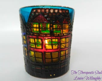 Rainbow, Doodle houses, hand painted, glass, candle holder, gift, whimsical art, home decor