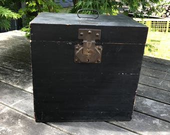 Vintage French black wooden box