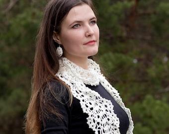 Crochet women scarf Ivory crochet scarf Lace crochet scarf Boho scarf  Long crochet scarf Cotton scarf Fall scarf Crocheted scarf ivory