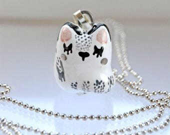 Adorable Cat Necklace, Cute Cat Gift For Her, Cat Gift For Girl, , Black and White