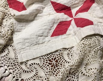 Vintage Red and White Quilt Layer/ Cutter Quilt Piece/ Quilt Photo Prop