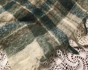 Green and Cream Plaid Layer/ Plaid Layering Piece/ Plaid Posing Fabric