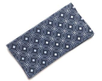 Checkbook cover, checkbook holder, wallet, receipt holder, navy and white