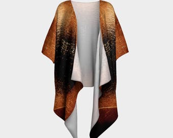 Boho Style Clothing | Wearable Art | Festival Clothes | Draped Chiffon Cardigan | Amber Northern Lights Top | Jackets | Travel Wear |
