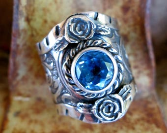 ULTIMATE WESTERN RING by Kit Carson, Blue Topaz, Signed, Sterling Silver