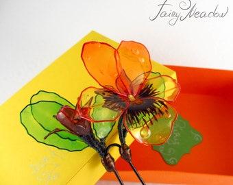 SALE! Pansy Hairpin Handmade Yellow Orange Transparent Flower Resin Kanzashi Sakae
