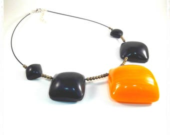 Choker necklace black and yellow polymer clay
