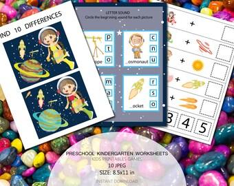 Educational printables games for preschool kids Space kids games Preschool Science Curriculum Kindergarten Worksheets Activities Clever