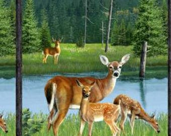 Deer and fawn fabric panel.  The panel is 24.5 x 44.5.