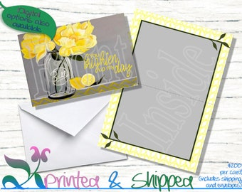Yellow & Gray Flower Note Cards; Folded Card; Postcard; PDF; E-Card
