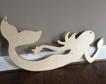 mermaid, wood cut out