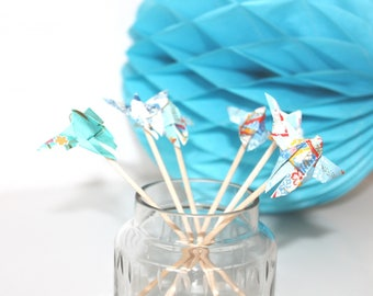 6 mini origami butterflies wooden skewers