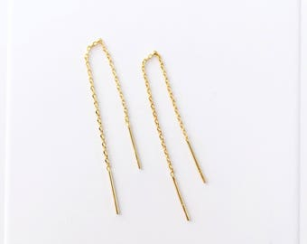 Small dainty threader earrings