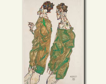 Printed On Textured Bamboo Art Paper - Devotion 1913 - Egon Schiele Print Schiele Poster Gift Idea Schiele Art Print bp