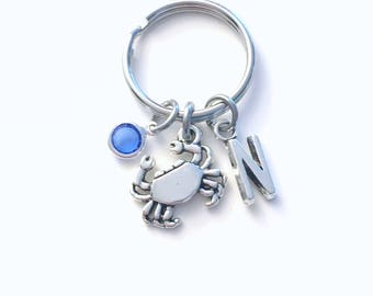 Crab Keychain, Gift for Fisherman Key Chain, Marine Animal keyring, Initial Birthstone present women her him Teen Girl Teenager beach crabby