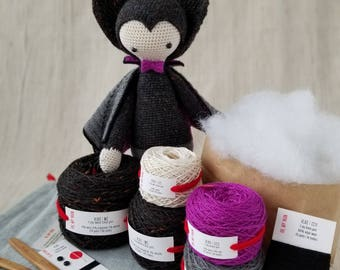 Lalylala VLAD the Vampire Bat -DIY Crochet kit, kits, crochet, crocheting, amigurumi kit, crocheter gift, crochet pattern, crochet supplies