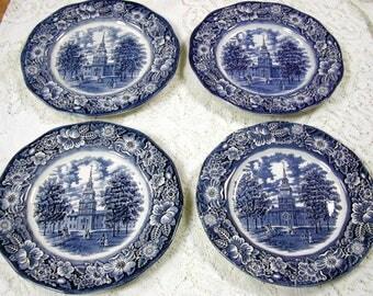 Four Liberty Blue Dinner Plates