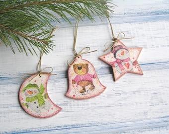 Handmade Pink Christmas Ornament / Xmas Decoration / Merry Christmas Gift / Christmas Decoration / Christmas Tree Decor Snowman Bear
