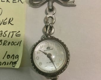 1910s Bucherer 800 Silver Marcasite Ball Watch with Booch 27mm 2 inches long