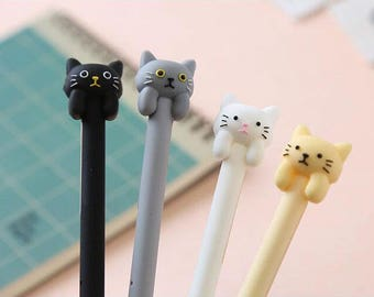 We Love Cat Pens, Cute, Kawaii, Black, Gray, White, Butter, Writing Supplies