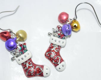 Christmas Stocking Earrings with Bells