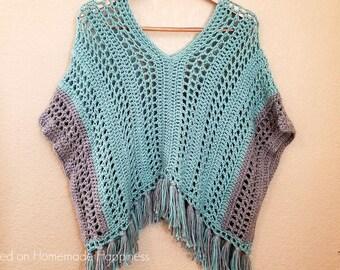 Poncho Crochet PATTERN - Crochet Pattern - Crochet Top Pattern - Crochet Top