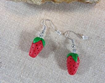 Strawberry earrings, fimo jewelry fruit gourmet jewelry women girl earrings, stud earring natural, handmade strawberries