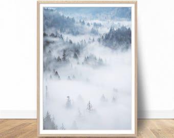 Foggy Forest Print, Foggy Forest Poster, Foggy Print, Foggy Photography, Photography Prints, Forest Wall Decor, Printable Wall Art
