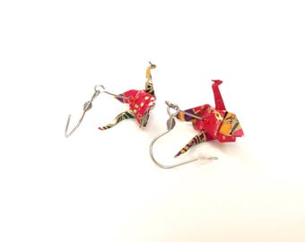 Origami, origami washi paper red dragons, stainless steel hooks earrings