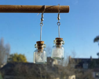 Cozy natural feather earrings vials nest of sweetness