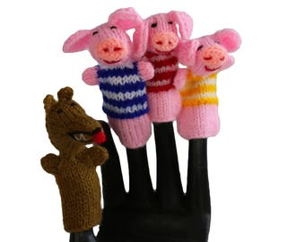 3 Little Pigs FingeR PuPPET SET OF 4