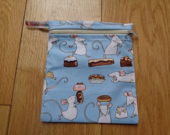 Snack Bag - Bikini Bag - Lunch Bag - Make Up Bag Small Poppins Waterproof Lined Zip Pouch - Sandwich bag  Eco - Cake Mice Mouse Chocolate