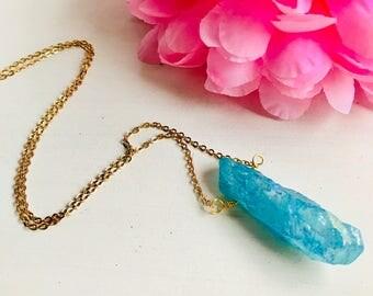Quartz titanium, quartz titanium necklace, quartz pendant necklace, long necklace with pendant, blue quartz necklace, natural stone necklace