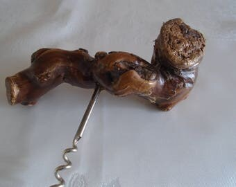 bog wood / knotty wood root vintage cork screw