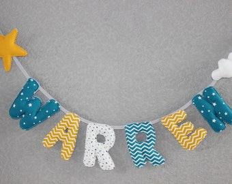 """Fabric Garland """"made to order"""" letters first name of your choice in quilted cotton fabric, fleece cloud."""