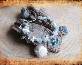 Bohemian bracelet Navy Pearl and aquamarine Aegir _