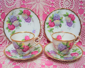 2 Beautiful Vintage Royal Stafford CAROUSEL Cups, Saucers and Side Plates.