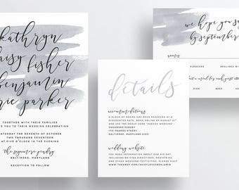 Simple Calligraphy Wedding Invites / Warm Gray Watercolor / Semi-Custom Wedding Invitation Suite / Print-at-Home Invitations