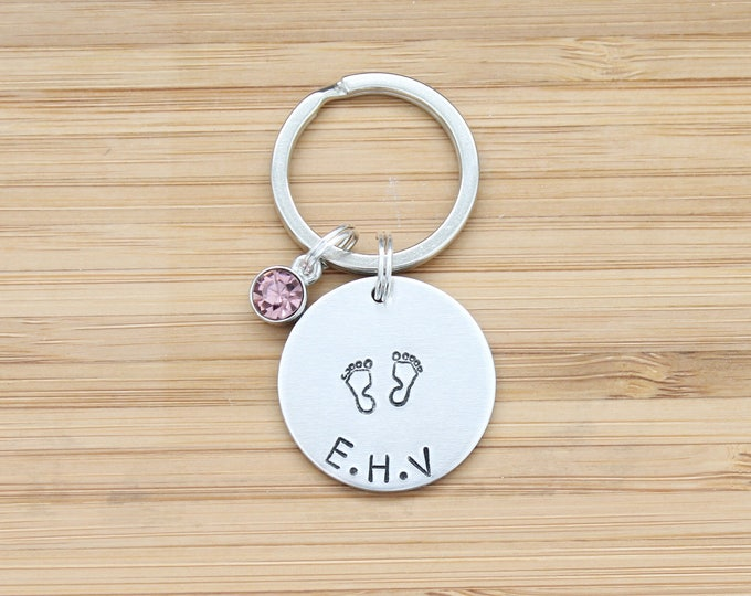 Featured listing image: hand stamped keychain | baby initials + birthstone